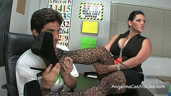 busty angelina castro threeway footfetish bj in class