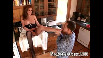 julie has her feet lovingly licked