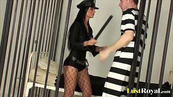 sexy police officer black angelika inspects a prisoner