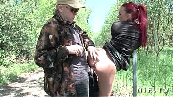 french redhead slut gets ass fucked in threesome outdoor